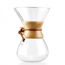 Ahşap Boyunlu Cam Kahve Demleme